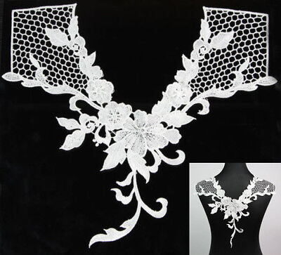 Hot 1Pc V-neck Lace Applique Flower Neckline Collar Sewing Fabric Embellishments