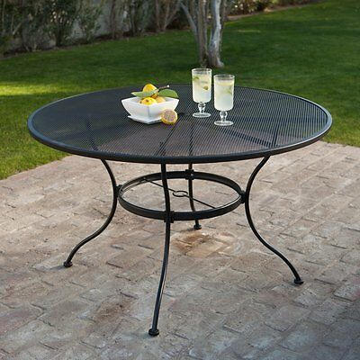Belham Living Stanton 48 in. Round Wrought Iron Patio Dining Table by Woodard -