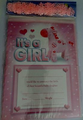 It's A Girl Baby Announcements 2 Packets x 20 Sheets with Envelopes