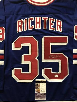 d8133d983df Autographed Signed MIKE RICHTER New York Blue Hockey Jersey JSA COA Auto