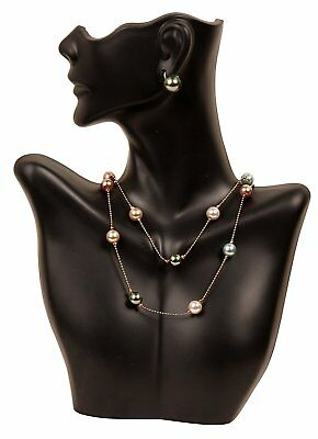 Necklace And Earring Bust Jewelry Display - Black