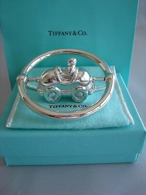 TIFFANY sterling silver ~NEW~ BABY RATTLE ~ RACE CAR ON AXLE~ box,pouch,card