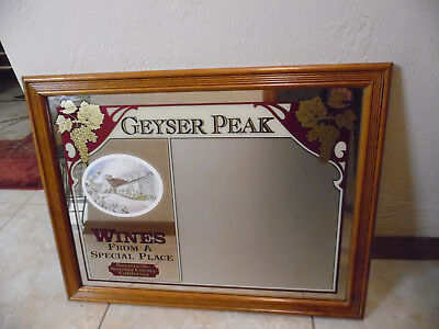 Vtg Geyser Peak Winery Mirrored Wall Hanging Advertising Sign