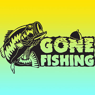 Huge 600mm Gone Fishing Vinyl Sticker Decal PLUS EXTRA'S