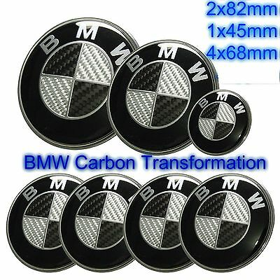 BMW complete Set 7x (2x82+68+45mm) Carbon Fiber Black/White Emblem Logo e90 e60
