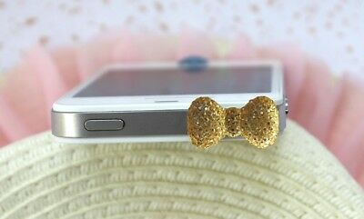 3.5mm Jack Diamond Bling Bowknot Anti-Dust Ear Cap Plugs For iPhone 7 6 6S 5S US