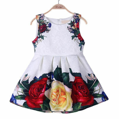 Baby Girls Floral Print Party Pageant Dress Kids Sleeveless Pleated Swing Dress