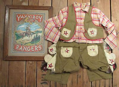 Vintage Antique Yankiboy Rangers Rodeo Boys Cowboy Costume w/Framed Box 1930s