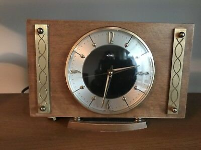 RETRO Vintage Metamec Electric Wood & Metal Surround Mantel Clock Mantle 60's 70