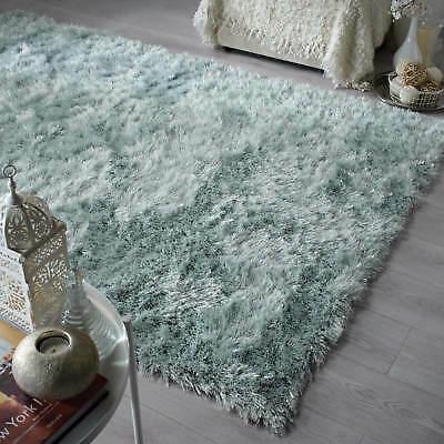 Flair Rugs Dazzle Contemporary Deep Thick Long Pile Plain Shaggy Duck Egg Rugs