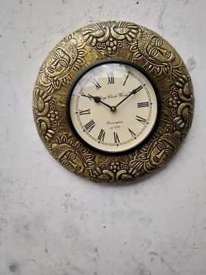 Wood And Brass Designer Round Wall Clock - Home Decor - Gift For All Occasion