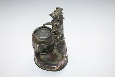 "Ancien briquet essence cendrier sculpture "" chien bouledogue fumant la pipe """