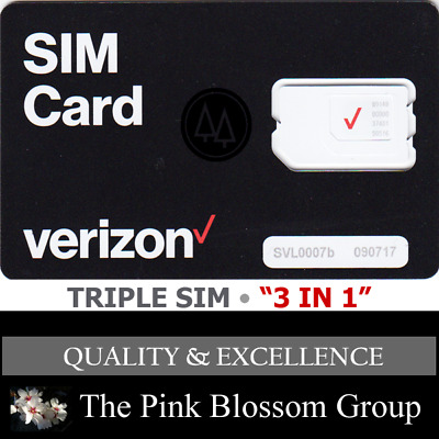 "VERIZON SIM CARD ""3 in 1"" TRIPLE  MINI 2FF + MICRO 3FF + NANO 4FF • CDMA 4GLTE"