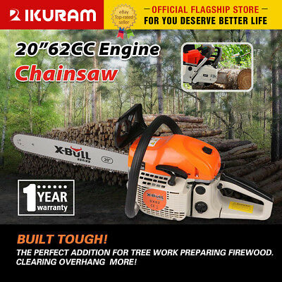 "X-BULL 62cc Petrol Commercial Chainsaw 20"" Bar E-Start Chain Saw Tree Pruning"