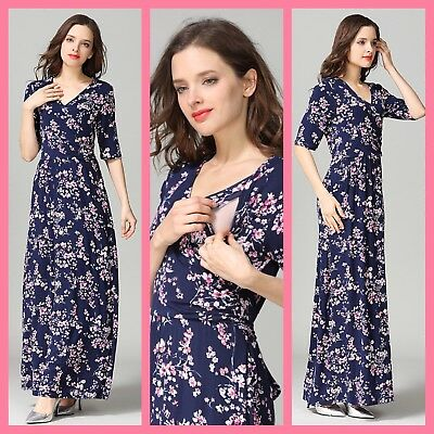 Sale! New Floral Maternity Breastfeeding Nursing Maxi Dress Size M L 10 12 14 16