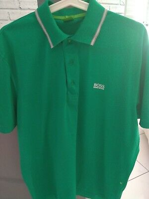 Men's HUGO BOSS WORN ONCE! size l large polo top t-shirt green £