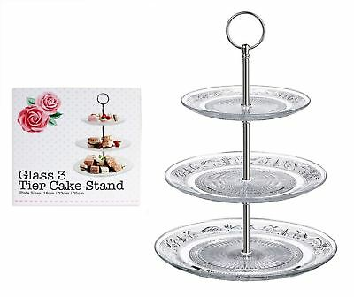 3 Tier Glass Cake Stand Afternoon Tea Wedding Plates Party Tableware Embossed