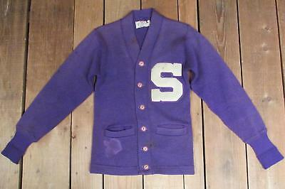 Vintage 1950s Jahre Campus lila Wolle Uni Pullover Große S Brief Patch