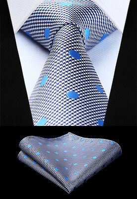 Woven Men Tie Blue White Polka Dot Necktie Handkerchief Set# TD802B8S