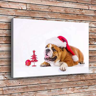 Dog Cute Christmas Hat Home Decor Room HD Canvas Print Picture Wall Art Painting