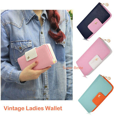Vintage Wallet Button Case Clutch Purse Lady Long Women Handbag Blue Pink Green