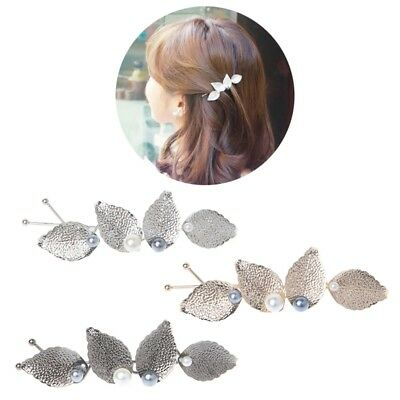 Women Girls Hair Clip Pearl Leaves Hairpins Accessories Hair Jewelry Wedding