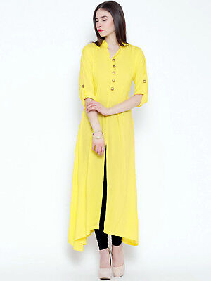 Yellow Indian Bollywood Anarkali Kurta Kurti Party Designer Dress Women