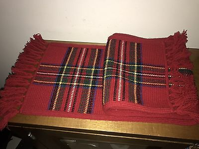 Ralph Lauren Scarf - Red Stripes and Tartan - Large: 1450mm Long x 250mm Wide