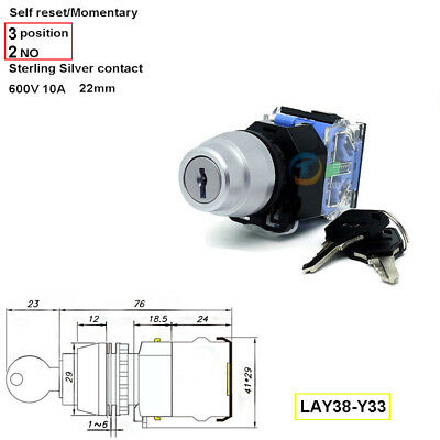22mm 2NO Rotary Momenary Key Switch Power Ignition Lock ,3 Position 660v 10A