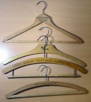 4 x Assorted Vintage Wooden Hangers with Advertisement