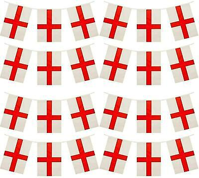 33FT St George England Bunting 20 Fabric Flags Football World Cup Decorations