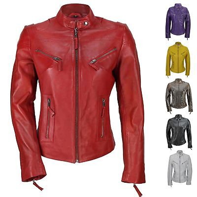 Womens Ladies Real Genuine Leather Slim Fit Red Brown Biker Jacket