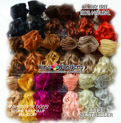 Mohair wavy curly doll weft Blythe BJD Waldorf natural goat hair reroot wig lock