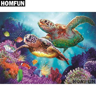 "Full Square/Round Drill 5D Diamond Embroidery Cross Stitch Mosaic ""Turtle fam..."