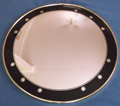 Vintage Art Deco Black Trim Round Convex Fish Eye Wall Hall Mirror