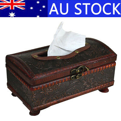 Retro Wooden Tissue Box Rectangular Paper Cover Case Handmade Napkin Holder Gift