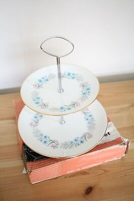 Vintage floral blue Swinnertons Staffordshire Cake Stand two tier Sandwich Stand