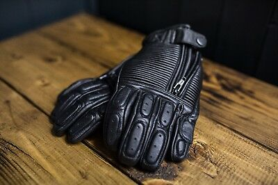 Motorcycle black leather retro ribbed gloves cafe racer bobber street tracker