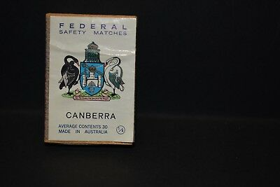 Vintage Rare Collectable Federal Safety Matches Canberra Match Box