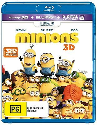 Minions 3D Edition with 2D Edition Digital Download Blu-ray Region B NEW