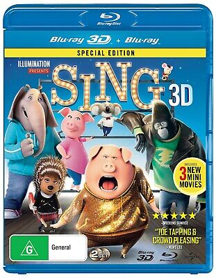 Sing 3D Edition with 2D Edition Blu-ray Region B NEW