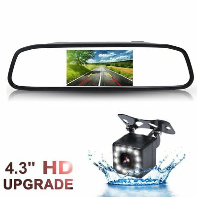 4.3 inch Car Rearview Mirror Monitor with 12LEDs Night Vision Backup Camera