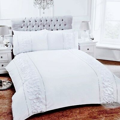 Rhf Provence White Diamante Ruffle Ruched Duvet Quilt Cover