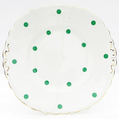 Vintage Royal Vale Bone China Polka Dot Green Spot Cake Plate