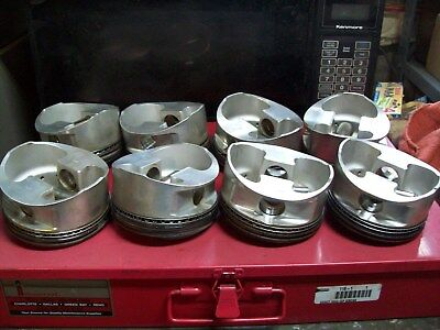350 JE pistons / 4.030 bore / wrist pins & locks / used / take outs / 6 inch rod