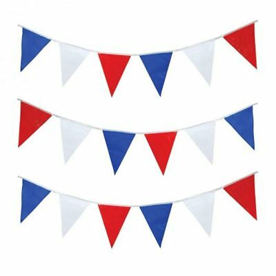 10M (32ft) RED WHITE AND BLUE BUNTING GARLAND ROYAL EVENT DECORATIONS PARTY