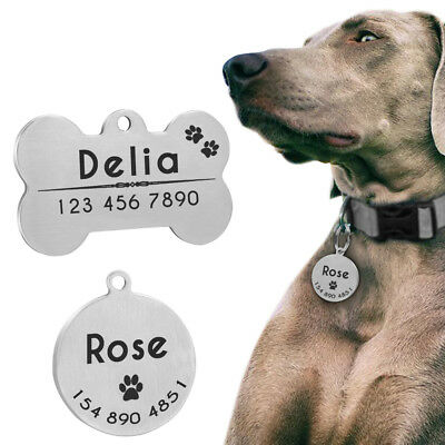 Personalized Dog Tags Engraved Cat Pets Name ID Collar Tag Silver Bone/Ronnd S-L