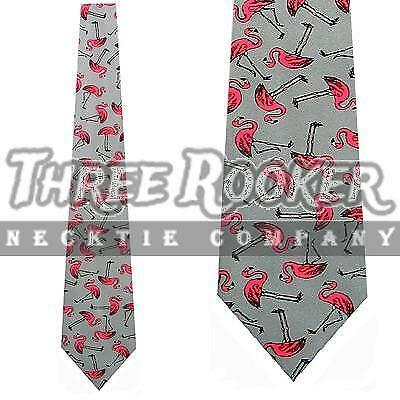 Big Pink Flamingo On A Black Polyester Neck Tie Free Shipping