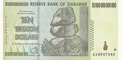 (1) 10 Trillion Zimbabwe Dollars Uncirculated Note 2008 Aa Series 10 Trillion