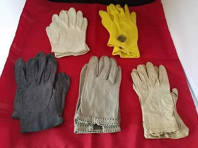 4 Vintage Ladies Leather Gloves: Dark Grey made in France + 1 Yellow Fabric
